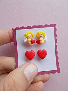Handmade polymer clay Valentine's day gifts Handmade polymer clay Valentine's day gifts - earrings set of two: Cupid earrings and red heart studs