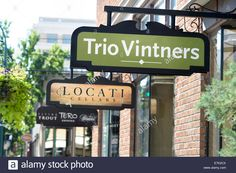 Signs in front of wine tasting rooms in downtown Walla Walla Stock ...
