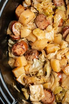 Slow Cooker Potatoes, Cabbage and Kielbasa Potatoes, Cabbage, Onion and Kielbasa slow cooked to perfection. - Slow Cooker Potatoes, Cabbage and Kielbasa - The Magical Slow Cooker Crockpot Dishes, Crock Pot Slow Cooker, Slow Cooker Recipes, Cooking Recipes, Kielbasa Crockpot, Cabbage Slow Cooker, Crockpot Stuffing, Crockpot Recipes With Potatoes, Crockpot Keilbasa Recipes