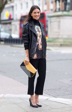 Seen on the streets on London: such a smart mix of rocker chic and dressy - then the yellow, grey & black envelope clutch tops it off.