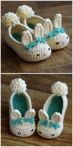 You will love these Bunny Slippers Crochet Patterns and we've included baby, toddler, big kid and adult sizing. I just love these adorable little bunny slippers for toddlers! What a lovely make. czesc 1 na Stylowi. Crochet Toddler, Crochet Girls, Easter Crochet, Cute Crochet, Crochet For Kids, Crochet Crafts, Crochet Projects, Beaded Crafts, Diy Crafts