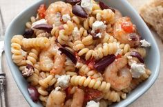 Greek Pasta with Shrimp, Feta, Tomatoes, and Olives