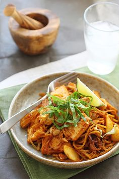 Indian Mee Goreng (Indian Fried Noodles) recipe - Sour, spicy, sweet, and tangy come through in this Indian mee goreng recipe. I love the fried bean curd, potato, and squid (a substitute for baby octopus or cuttlefish). It is really delicious.  #malaysian #noodles
