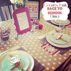 I love this idea of a back to school dinner- complete with a motto/scripture for the year.  Great ideas here!