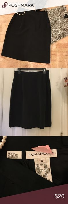 "Evan Picone black silk skirt Black silk Evan Picone skirt, size 8. 100% silk, fully lined with front pockets. Waist measures 14"" across, length is 22"". I'm 5'2"" and it holds mid- knee. Recently dry cleaned! EUC Evan Picone Skirts Midi"