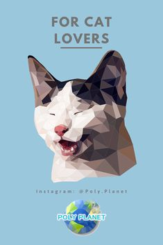Visit our site to download the low-poly drawing app! Low Poly, Cat Lovers, Drawings, Cats, Movie Posters, Gatos, Kitty Cats, Film Poster, Cat