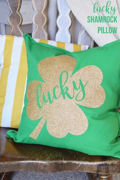 Creating throw pillows for different holidays is fun + easy! Stop by the blog to learn how to make this Lucky Shamrock St. Patrick's Day Pillow.