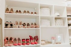 We maximized a narrow closet space for fashion blogger, Erika Altes of @whiskeyandlace, adding clever storage to the design to organize items that could be concealed while leaving room for Erika to showcase her most coveted fashion pieces.