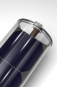 'Virtu' by Naked Energy (UK based). A cyllindrical tube with integrated PV cell in vacuum tube to generate both electricity and warm water.