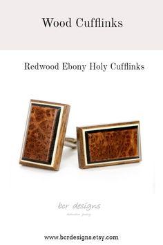 4d10cc14a7fb Wooden Cufflinks Tie Bar Tuxedo Studs Wedding Cufflinks by bcrdesigns. Love  this design, redwood wood cufflinks accented with ebony & holly.