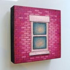 Purple NYC Window Mini colour drawing ready by LauraKaardalArtist #NewYork City #architecture #city #urban #streetscene #purple #fuchsia #brickwall #hertiagebuilding #classic #charm #decor #affordable #art