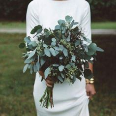 Olive leaf simple wedding bouquet