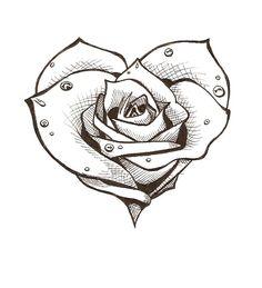 Beste Tattoo Old School Vogel deviantart 58 Ideen tattoo jewerly other accessories Dark Art Drawings, Tattoo Design Drawings, Pencil Art Drawings, Art Drawings Sketches, Tattoo Sketches, Cool Rose Drawings, Heart Tattoo Designs, Rose Heart Tattoo, Rose Drawing Tattoo