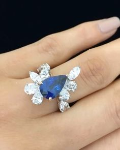 George Hakim Jewellers. Via Asia Jewellers (@asiajewellers) on Instagram: Spell-binding diamond and pear-shaped sapphire ring.