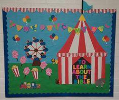 Carnival Circus Sunday School Bulletin Board Big Top Ferris Wheel Summer Carnival Bulletin Boards, Circus Theme Classroom, Summer Bulletin Boards, Birthday Bulletin Boards, Classroom Decor, Preschool Bulletin Boards, Preschool Classroom, Preschool Activities, Kindergarten