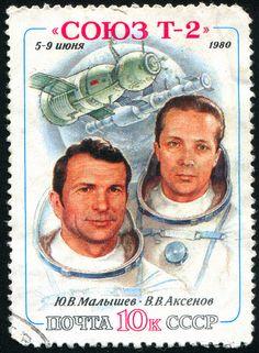 Russia, shows astronaut: Malyshev, Aksenov, circa 1980.