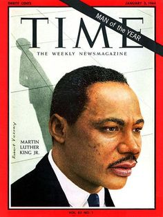 1963: First African American named as Time magazine's Man of the Year: Martin Luther King, Jr.