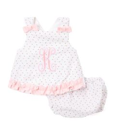 White & Pink Personalized Maggie Sundress & Bloomers - Infant #zulily #zulilyfinds
