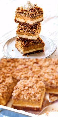 These are the BEST Pumpkin Cheesecake Bars with two easy layers of cheesecake and pecan streusel! They are luxuriously creamy, make ahead and he hit of every party! Pumpkin Cheesecake Bars, Cheesecake Recipes, Dessert Recipes, Deep Dish, Frozen Pumpkin, Pear Cake, Bowl Cake, Trifle, Savoury Cake