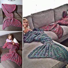 Stickad sjöjungfru-mysfilt Knitting Projects, My Girl, Pajama Pants, The Originals, Fabric, Birthday, Awesome, Dresses, Party
