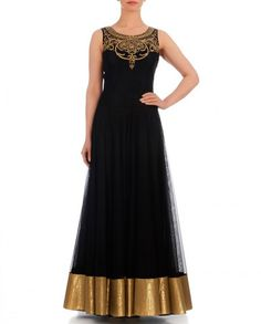 Black color anarkali Indo-Western gown – Panache Haute Couture