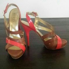 Guess strappy heel Brown leather with coral patent leather. Excellent condition. 4 inch heel with 1 inch platform Guess Shoes