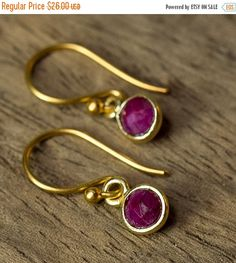 15% OFF Ruby Earrings Bezel Set Earrings by AlisonStorryJewelry