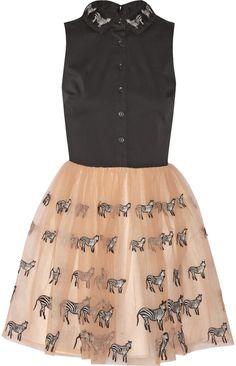 Alice + Olivia Preena appliquéd stretch-cotton and tulle mini dress #aliceolivia #pink #black #tulle #dress #short #zebras #unique #fashion