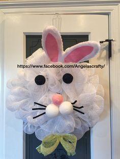 Easter bunny deco mesh wreath