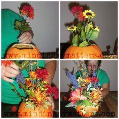 Fall pumpkin floral arrangement tutorial