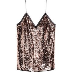 Sequined strappy top ($37) ❤ liked on Polyvore featuring tops and chiffon tops