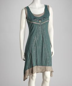 Green & Taupe Sidetail Dress | Daily deals for moms, babies and kids