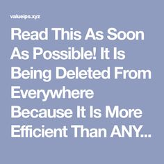 Read This As Soon As Possible! It Is Being Deleted From Everywhere Because It Is More Efficient Than ANY Medicine! | Valueable Tips and Tricks