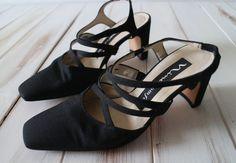 SIZE 6 M Vintage 90s Nina Black Strappy High Heels by 601VINTAGE, $35.00