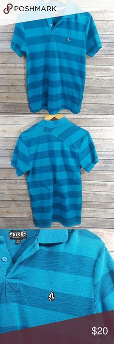 Volcom blue striped slubub pique polo shirt Volcom blue striped polo shirt Slubub pique polo Size small No holes, no stains, no pilling, no snags 60% cotton 40% polyester #644 Volcom Shirts Polos