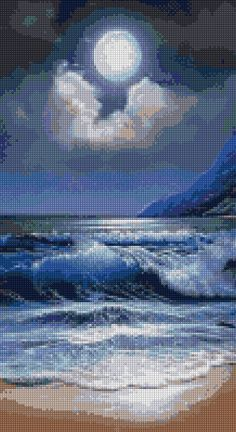 There is a purplish color to the moon. The clouds seem to cradle the moon. The waves are a beautiful, rich color of white, dark blue and light blue. Watch how the waves move. I love it. There is also a shine to the moon. Moon Pictures, Pretty Pictures, Moon Pics, Shoot The Moon, Beautiful Moon, Beautiful Images, Am Meer, Ocean Waves, Ocean Gif