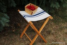 House of Hawthornes: Faux Grain Sack Camp Stool - except I'm going to transform an old luggage stand.