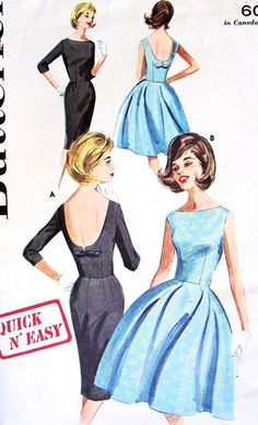 1960s CLASSY Mad Men Era Cocktail Evening Dress Pattern Butterick 2733 Little Black Dress Slim or Full Skirt Low Notched Back Quick n Easy Bust 31 Vintage Sewing Pattern