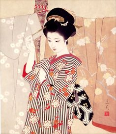 Large image of your selected item (Chinese and Japanese woodblock prints for sale, silkscreen, scrolls, watercolor, lithographs) Japanese Drawings, Japanese Artwork, Japanese Prints, Art Geisha, Geisha Kunst, Geisha Japan, Comics Illustration, Botanical Illustration, Art Chinois