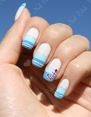 light blue stripe nautical nail art with red anchor