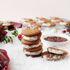 These gingerbread cookies get a grown-up makeover for the holidays when dipped in melted white chocolate and finished with sprinkles.
