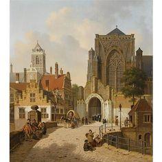 Jan Hendrik Verheijen Dutch, 1778-1846 , many figures in a Dutch town oil on panel