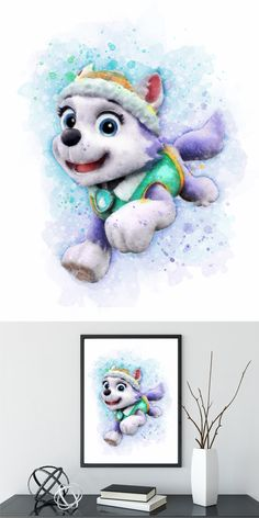 PAW Patrol Everest Wall Hanging, Watercolor print, Instant Download, Digital Printable Design, Nursery Decor, Kids Wall Art, Baby Poster