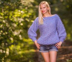 Blue Hand Knit Mohair Sweater Soft SLOUCHY Light Fuzzy Dress SUPERTANYA M L XL #SUPERTANYA #BoatNeck