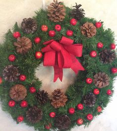 """Holiday Christmas 17"""" Pine Door Wall Wreath Red apples and Pine Cones #OneofAKindFloralDesignedGifts"""