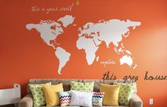 """I love this Large World Map Wall Decal - """"this is your world - explore"""" - 7 ft wide decal - ohdeedoh - orange apartment therapy nursery Kyler's playroo. $52.00, via Etsy."""