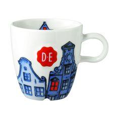 Douwe Egberts Hollands Trots Grachtenpand cappuccinomok blauw/wit   Blokker