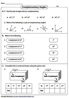 Finding Complementary Angles - Type 2 Introduction To Geometry, Angles Worksheet, Geometry Worksheets, Maths, Mathematics, Education, Type, Math, Onderwijs