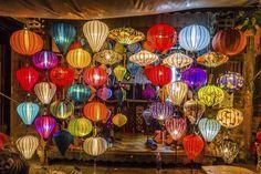 Asia lantern in Hoi An city, Vietnam Hanging Lanterns, Paper Lanterns, Color Symbolism, Image Deco, Beautiful Vietnam, Cap Vert, Summer Deco, Chinese Lanterns, Hoi An