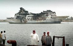 "a historic photo of Saddam Hussein's private yacht ""Al Mansur"" in 2003"